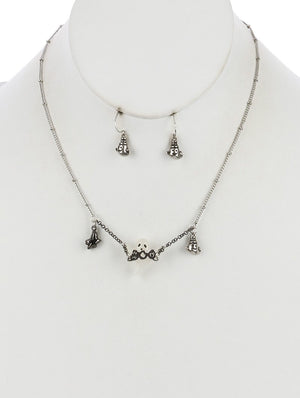 Lucite Stone Ghost Rhinestone Chain Fringe Necklace Set