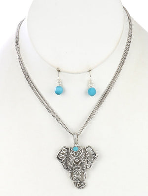Aged Finish Double Layer Chain Necklace Set