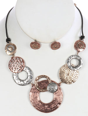 Aged Finish Ring Pendant Necklace Set