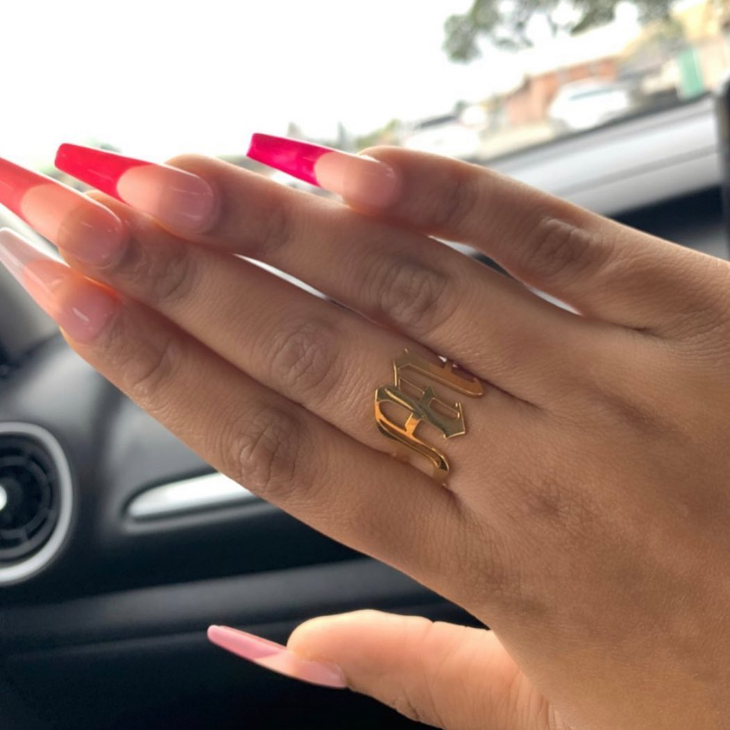 gold plated letter ring