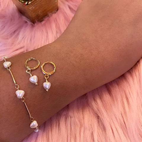 gold plated heart pearl earring and bracelet set