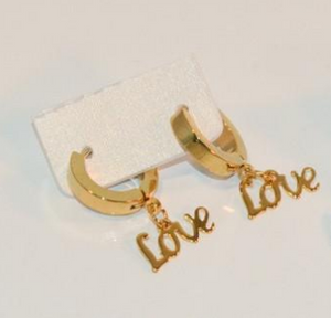 gold plated stainless steel LOVE huggie earring