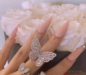 Icy adjustable Butterfly ring