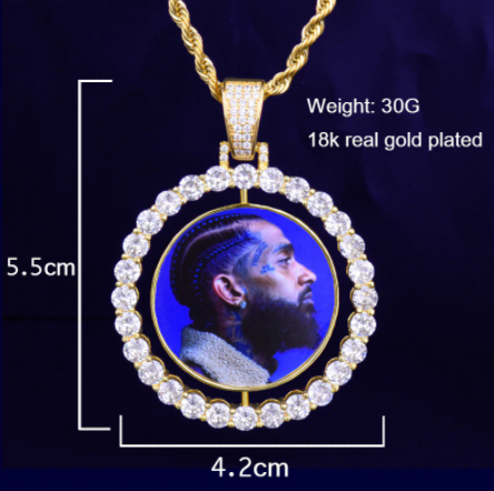 Photo Rotating double-sided  Pendant Necklace