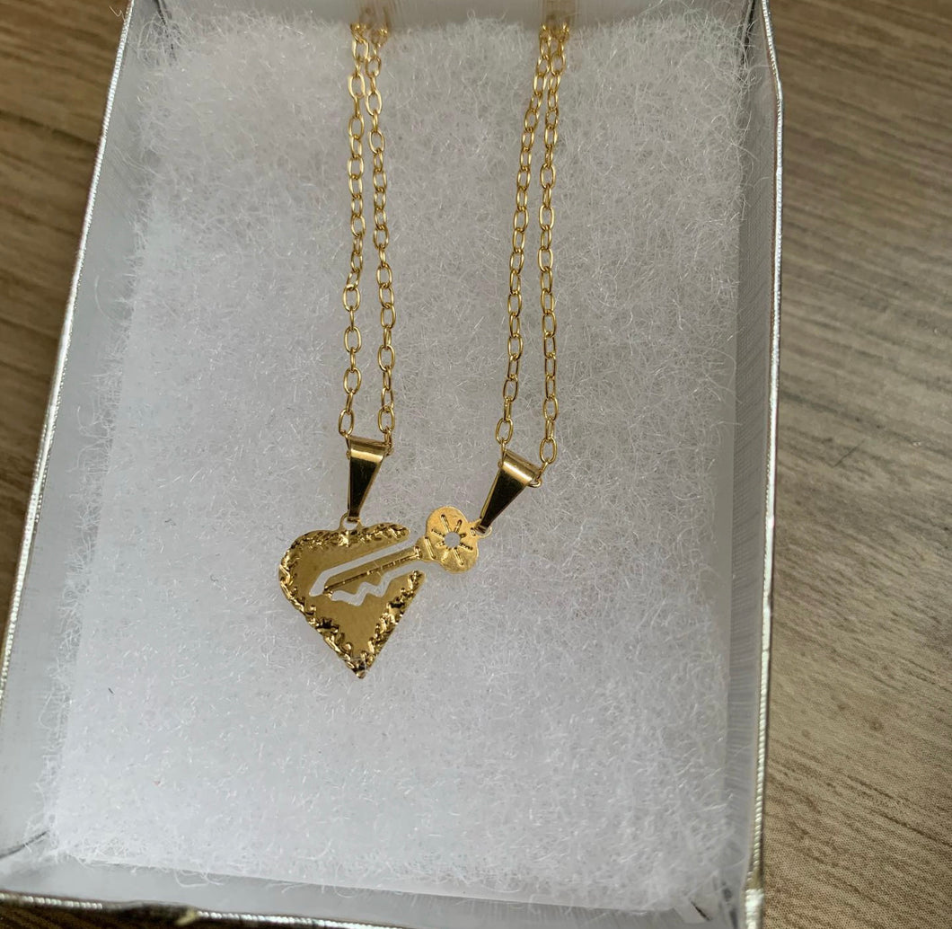 Gold filled broken key and heart set