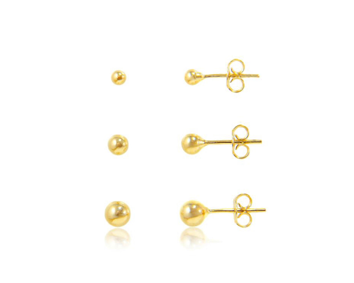 Gold plated trio ball earring