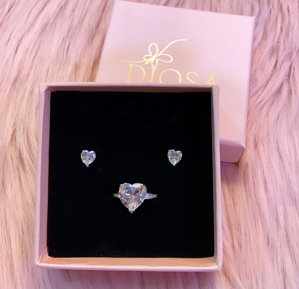 925 sterling silver love affair heart ring and earring set