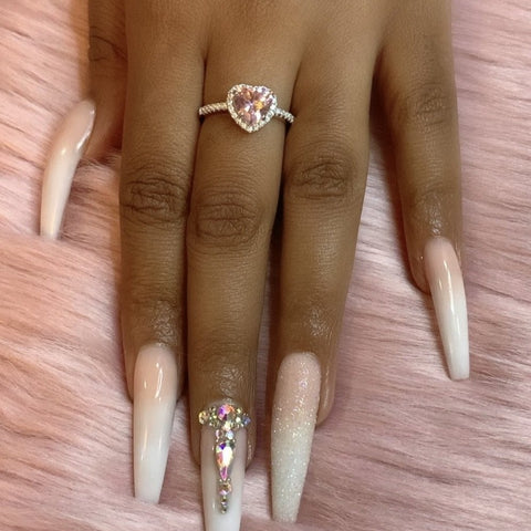 pink cz heart promise ring