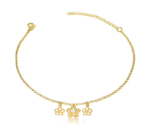 Gold plated flowers anklet