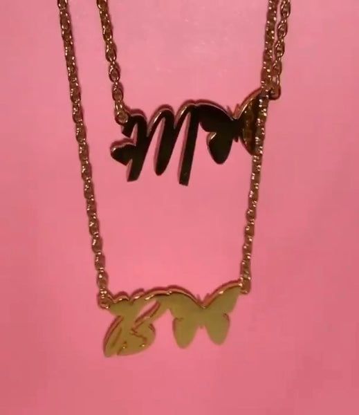 Butterfly letter necklace