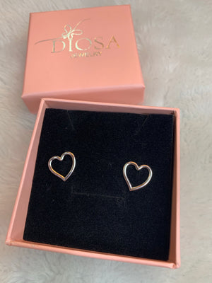 Silver plated heart stud earring