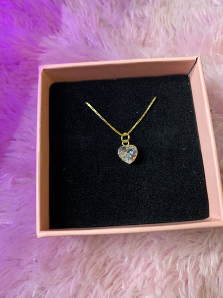 Gold plated cz heart necklace