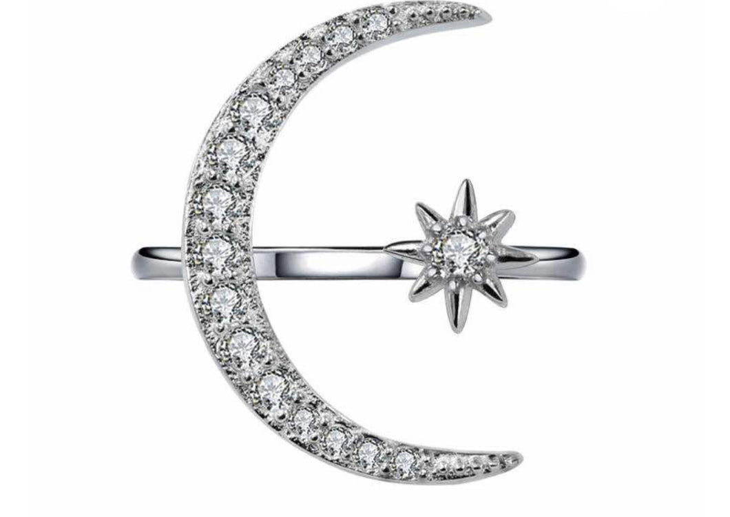 Sterling silver Crescent moon and star adjustable ring