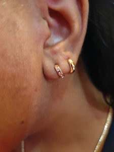 gold plated plain huggie earrings