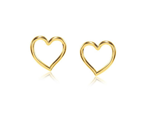 Gold plated heart stud earring