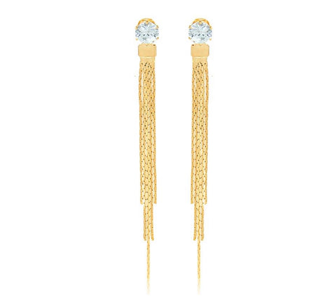 18kt gold plated fringe cubic zirconia earring