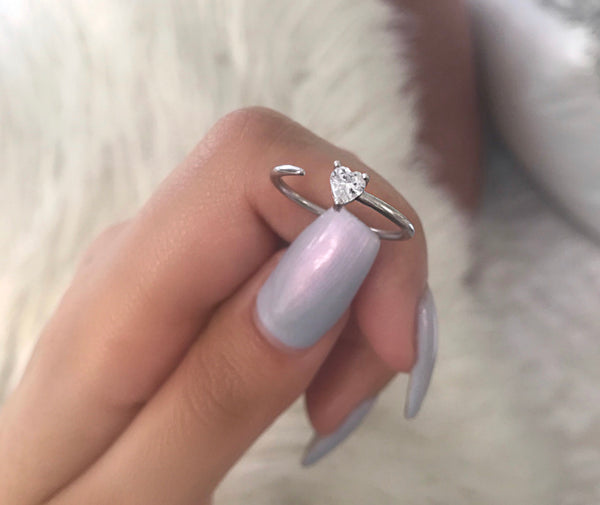 baby heart adjustable ring