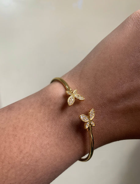 gold plated double butterfly bracelet
