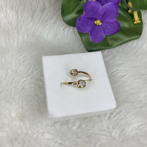 gold plated double heart toe ring