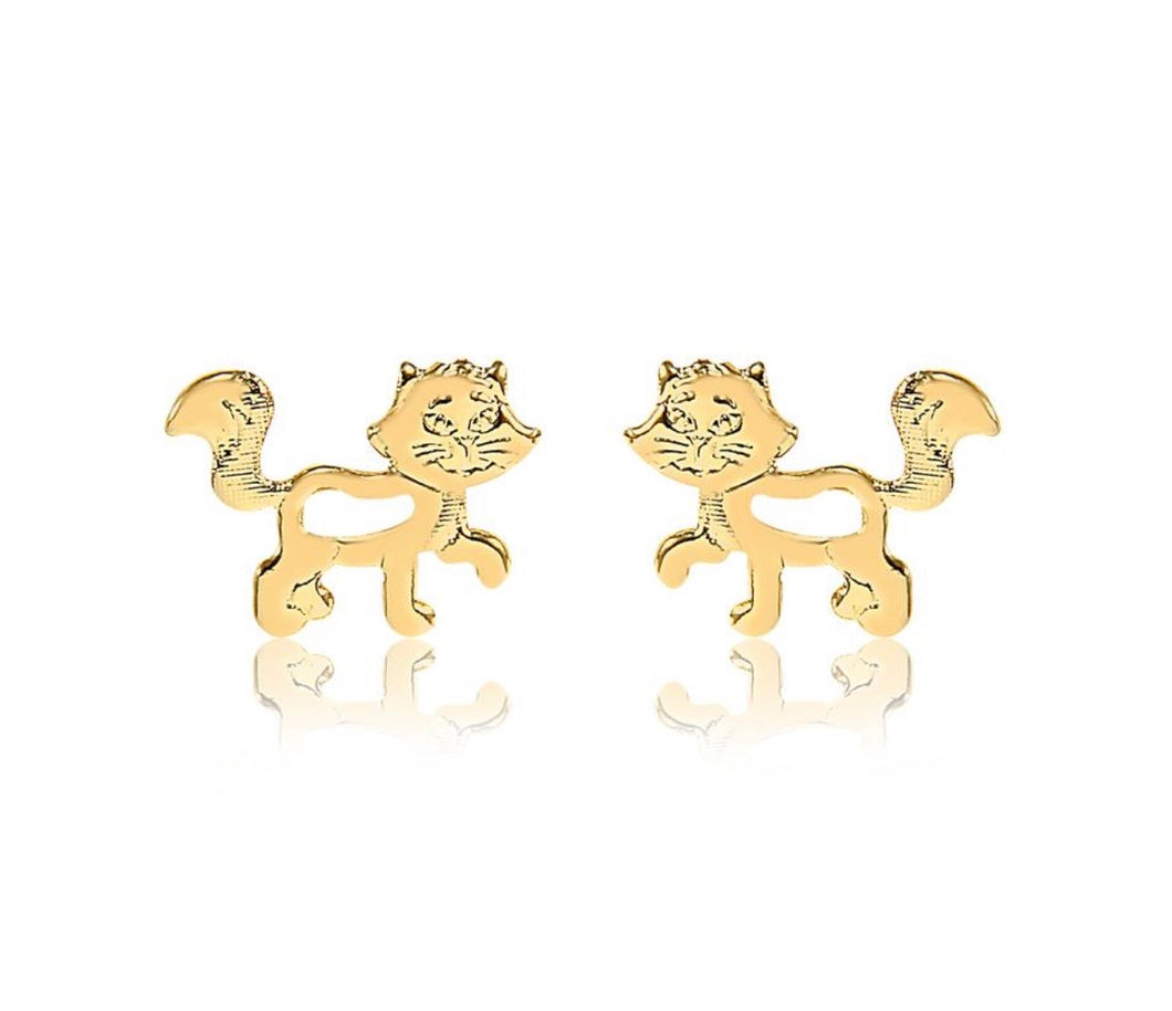 Gold plated cat stud