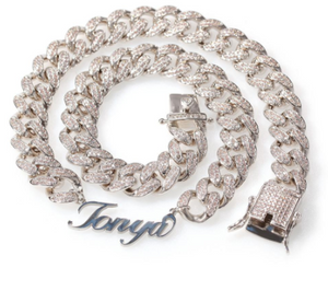 Icy Cuban Link name necklace