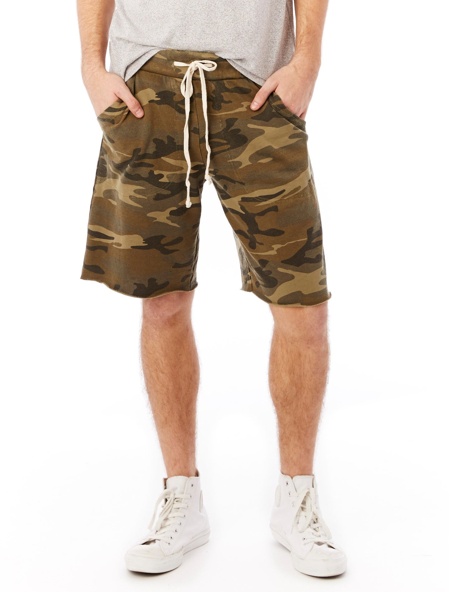 Camo Green French Terry Shorts