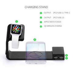 Multi Functional QI Wireless iPhone Charging Dock with Dual Type-C for Apple Watch