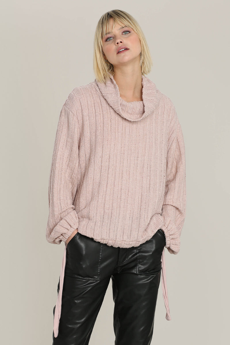 Cozy Pointelle Sweater Funnel