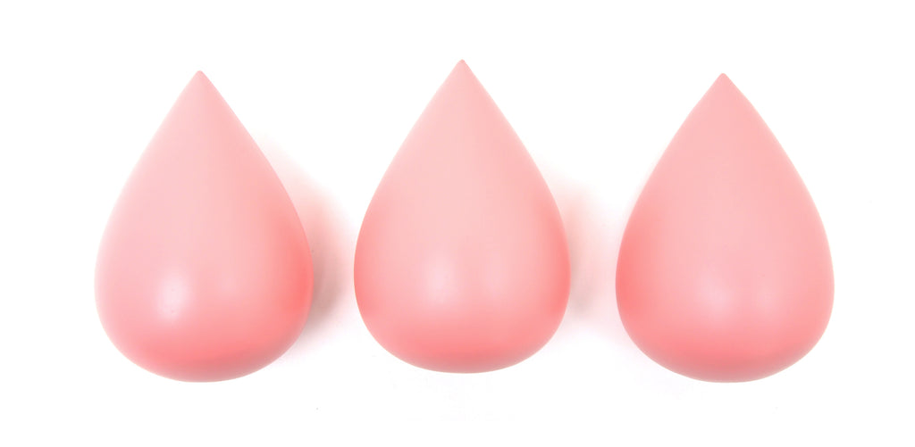 Rose in April - Raindrop Wall Hooks (set of 3) - Coral Pink - Playhaus Interiors