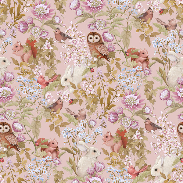 Jimmy Cricket - Woodlands Blush Wallpaper - Playhaus Interiors