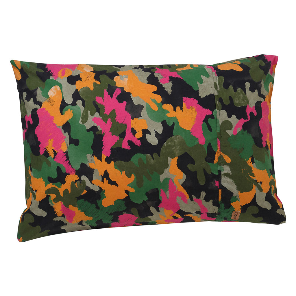 Kip & Co - Camo Pink Cotton Pillowcase - Playhaus Interiors