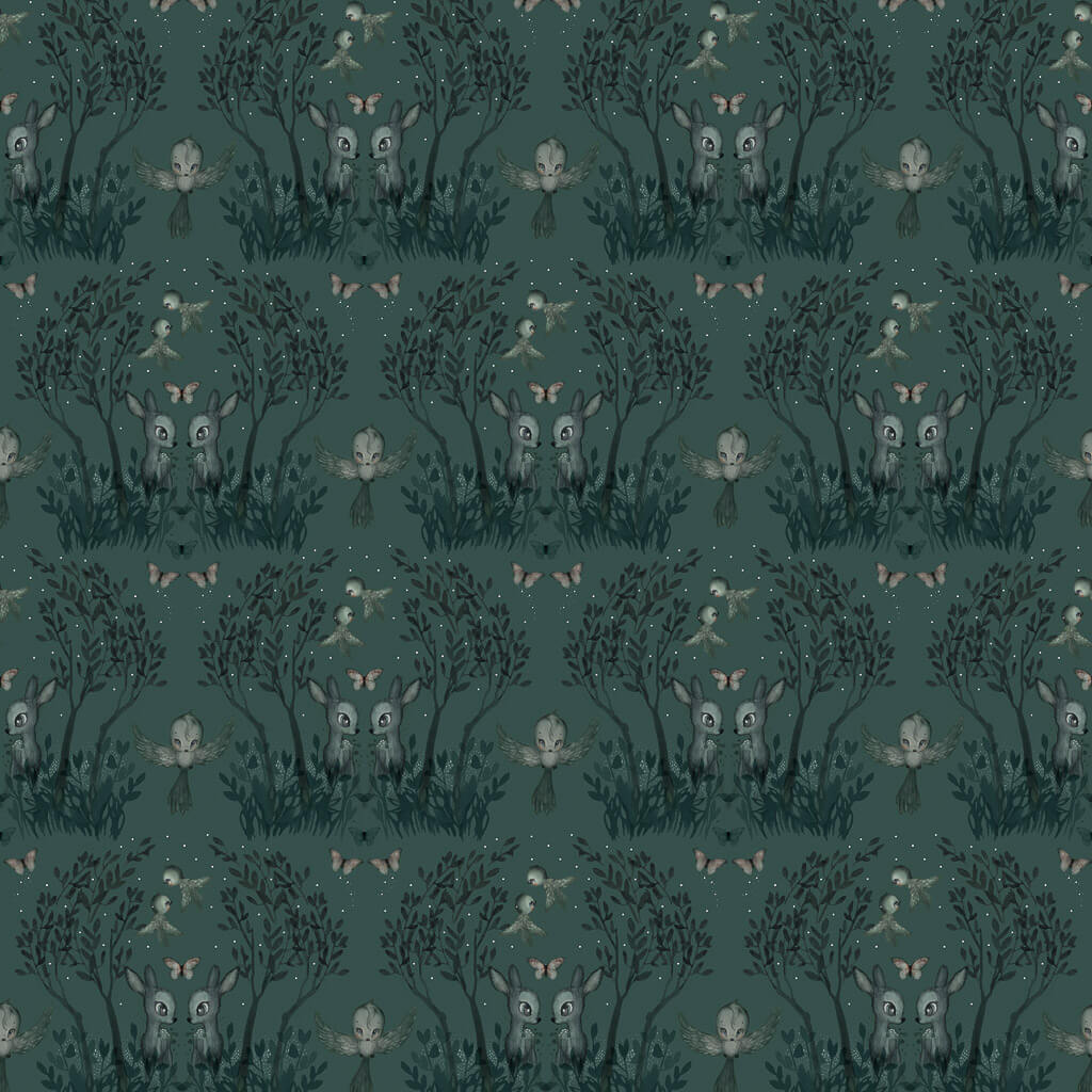 Mrs Mighetto Wallpaper - Garden Pine Green - Playhaus Interiors