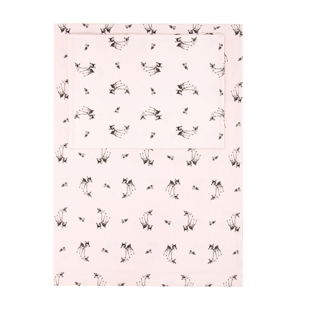 Rose in April Fawn Bedding Set - Light Pink