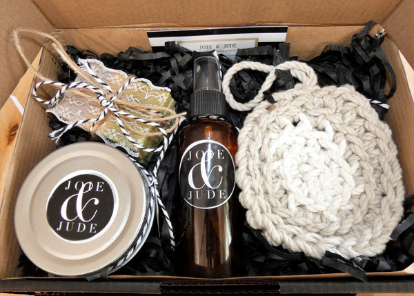 Keep your sweetie looking as radiant as ever by giving her this spa gift box. Each box contains naturally made bath salts, body mists, soap & a hemp scrubbie.