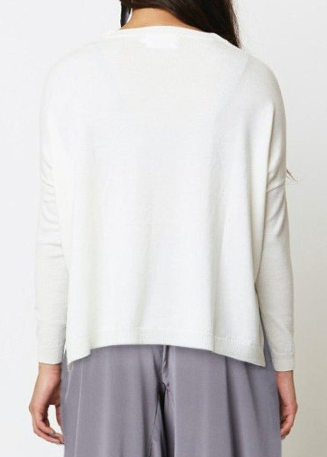 Alira Bark Fine Knit Sweater- Cream