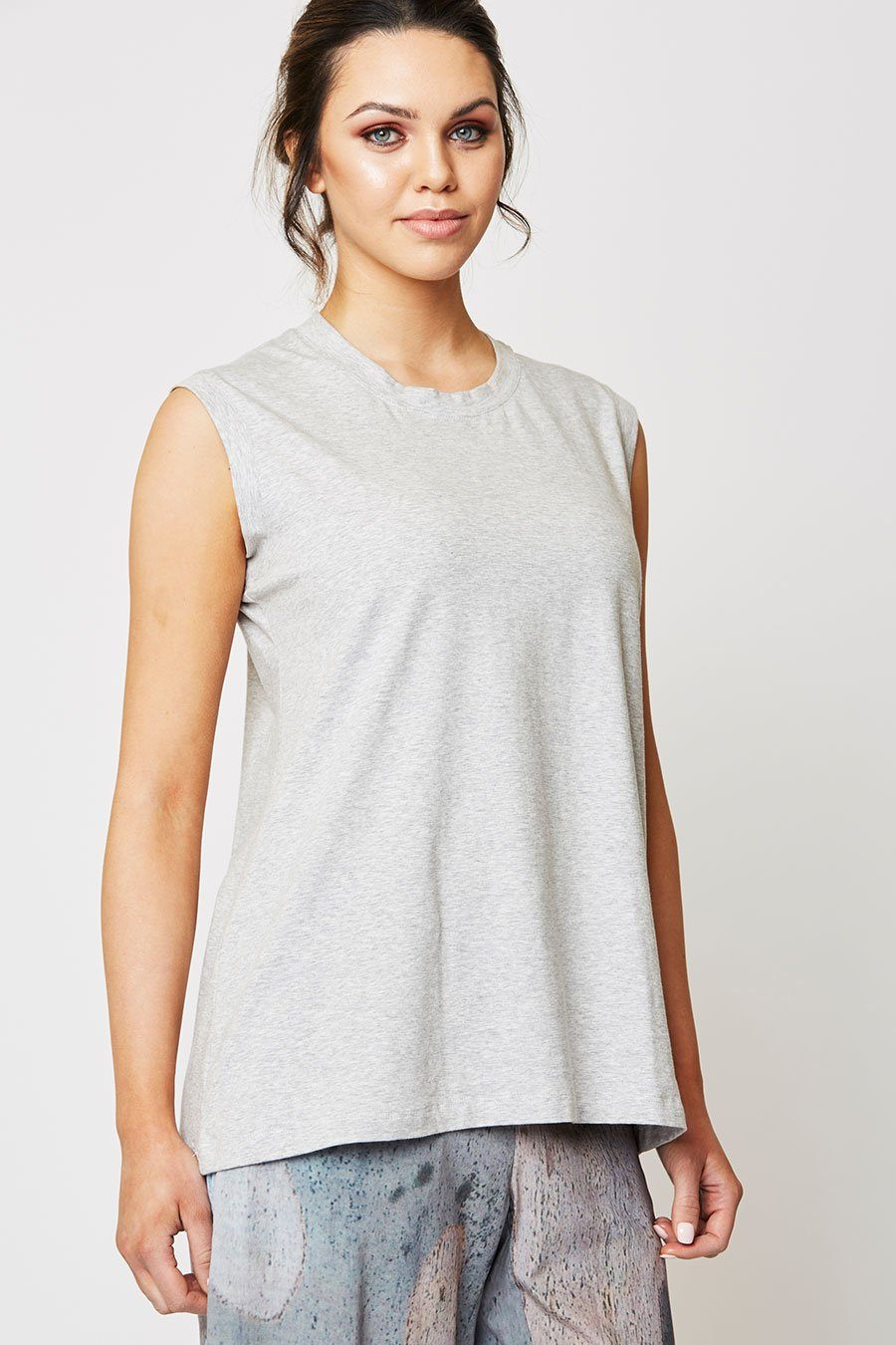 Woman wearing Ngali Grey Tank Top