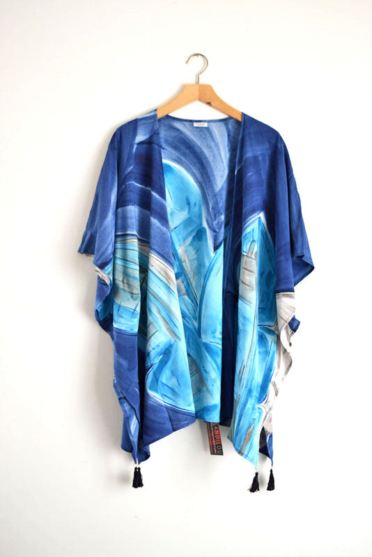Watercolor Kimono - Indigo Leaves