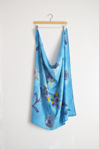 Watercolor Square Scarf - Blue Sunflowers