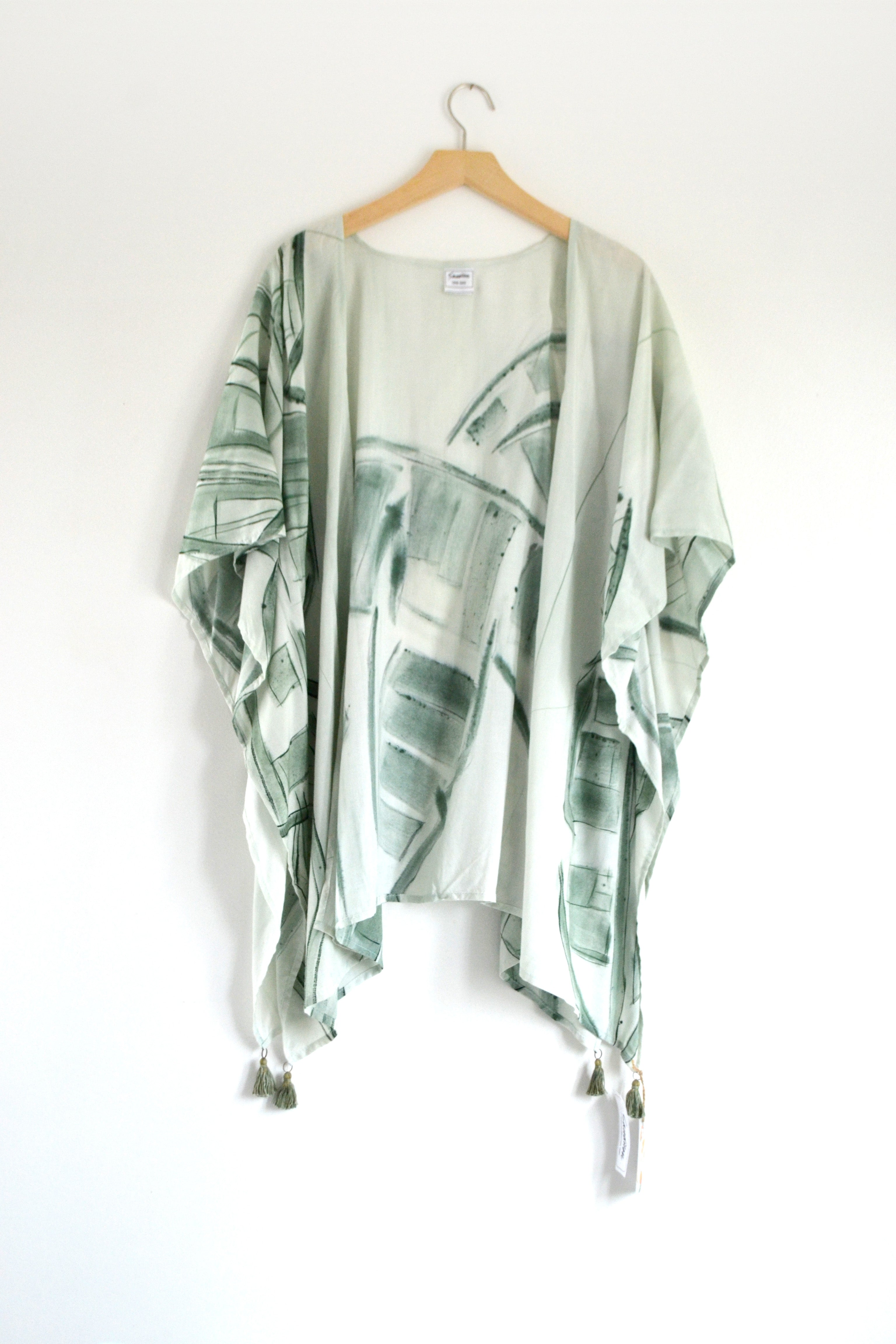 Watercolor Kimono - Palm Leaves