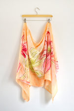 Watercolor Long Scarf - Pink Blossoms