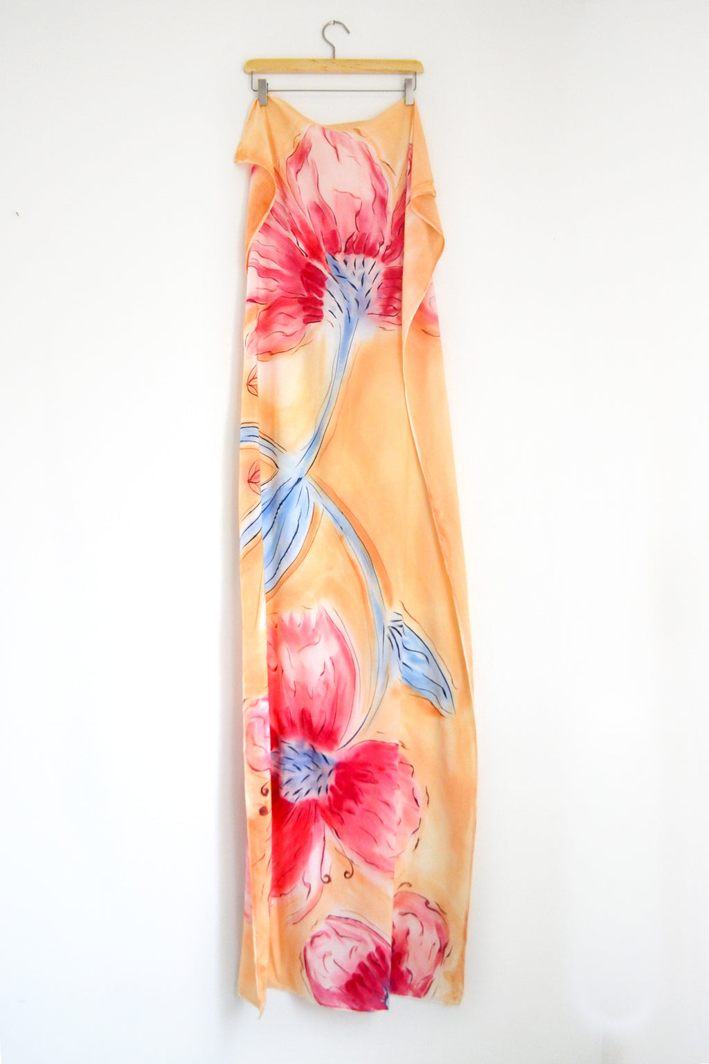 Watercolor Long Scarf - Cherry Blossom