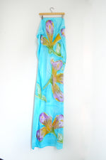 Watercolor Long Scarf - Iris Garden
