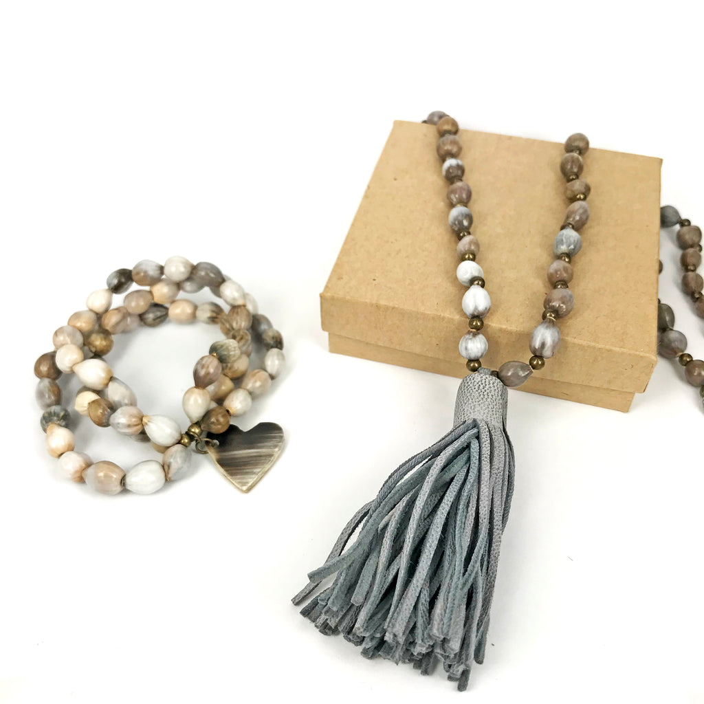 Job's Tears | Gray Tassel Set