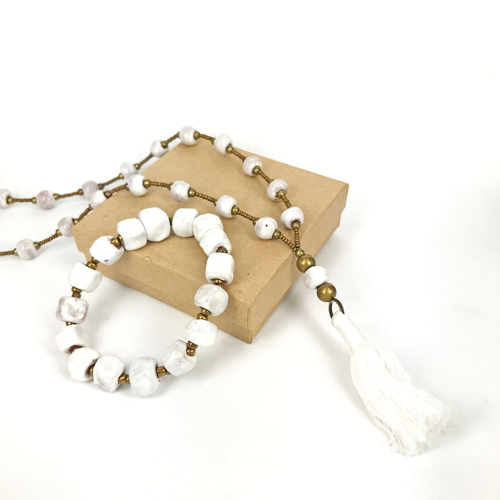 Clay | White Tassel Set