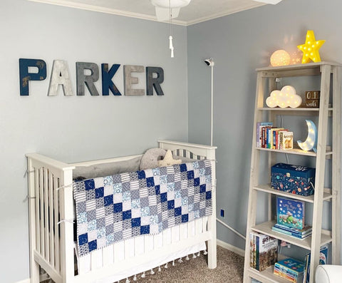 Boys nursery wall name letters spelling out Parker.