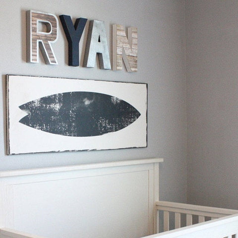Coastal nursery name letters spelling out Ryan.
