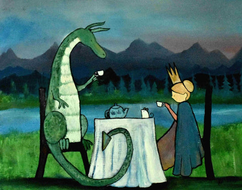 Kids wall art showing a princess and a dragon having a tea party for art wall ideas for toddler rooms.