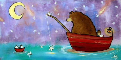 Kids wall art picturing a bear fishing in the ocean for kids wall art and toddler room ideas.