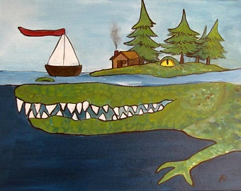 Kids room art wall with an alligator in the ocean and a boat and house on top of its head for toddler room ideas.