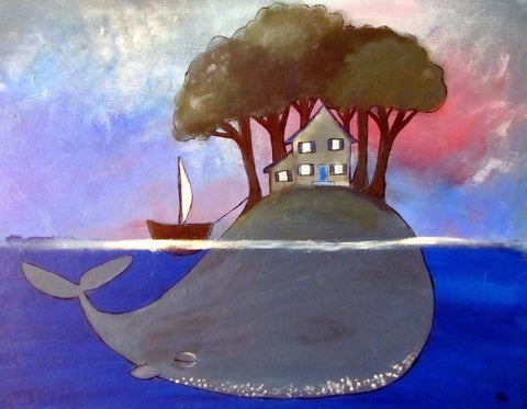 Kids wall art picturing a whale in the ocean holding up a small island with a house on top for art ideas for toddler room ideas.